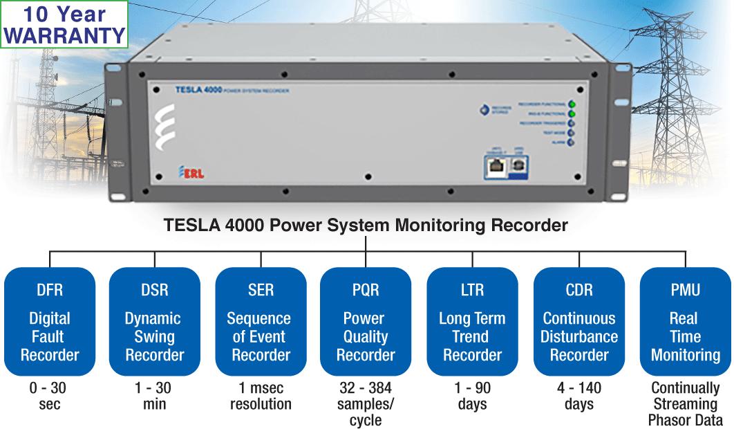 ERL Phase Tesla 4000 Power System Monitoring Recorder